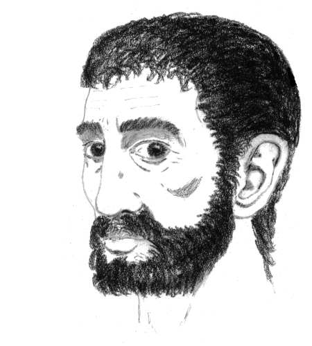 [drawing of the head of a bearded man of Mediterranean stock]