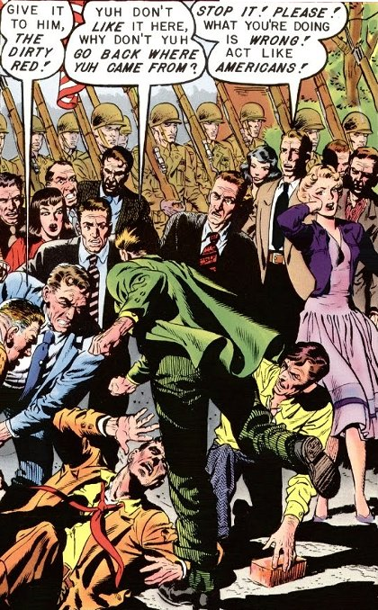 [detail from cover of Shock Suspense Stories #2, showing gang beating alleged 'red' and onlooker asking them instead to act like Americans]